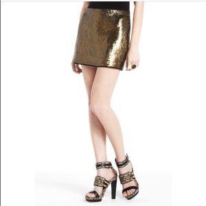 BCBG Maxazria Catrine Gold Sequin Skirt XS NWT
